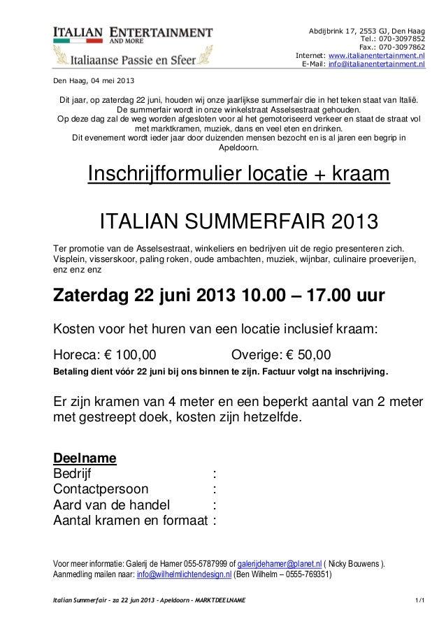 Italian Summerfair - Zaterdag 22 juni 2013 - Apeldoorn - Marktdeelname