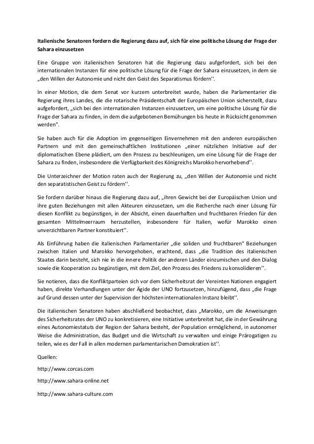 Italienische senatoren fordern die regierung dazu auf, sich für eine politische lösung der frage der sahara einzusetzen