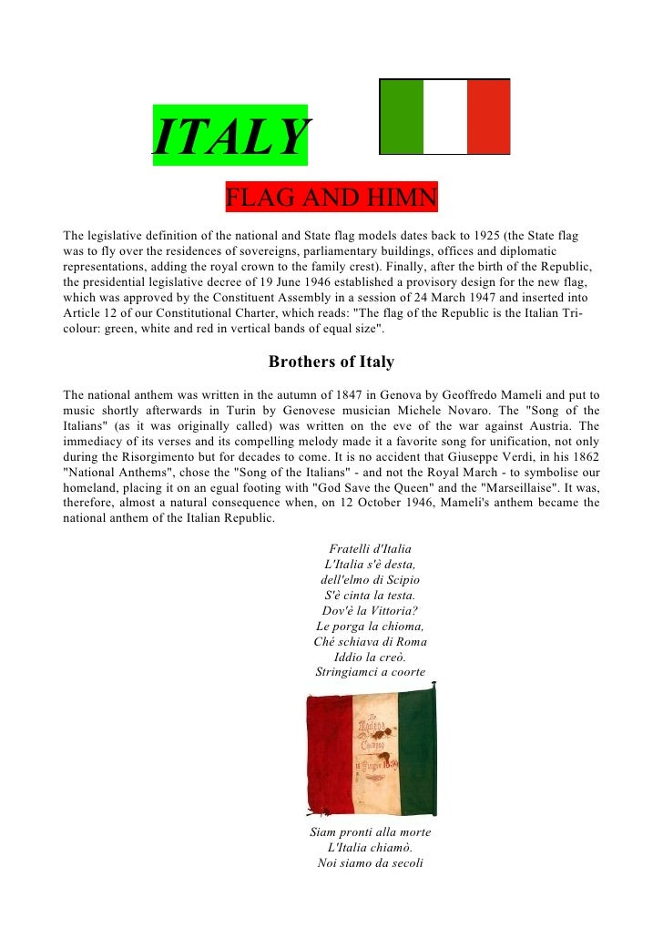 ITALY                                FLAG AND HIMN The legislative definition of the national and State flag models dates ...