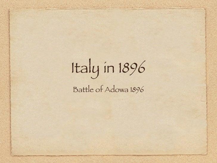 Italy in 1896 Battle of Adowa 1896