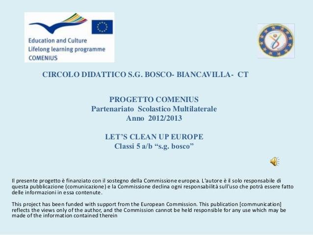 CIRCOLO DIDATTICO S.G. BOSCO- BIANCAVILLA- CT                                    PROGETTO COMENIUS                        ...