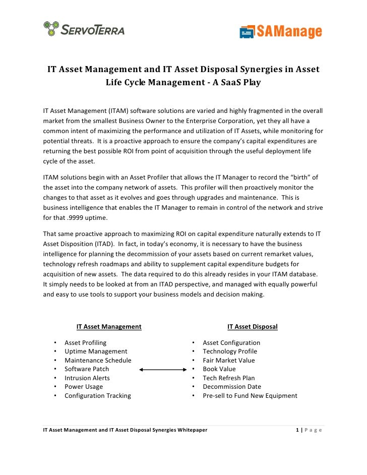 IT Asset Management and IT Asset Disposal Synergies in Asset              Life Cycle Management - A SaaS Play  IT Asset Ma...