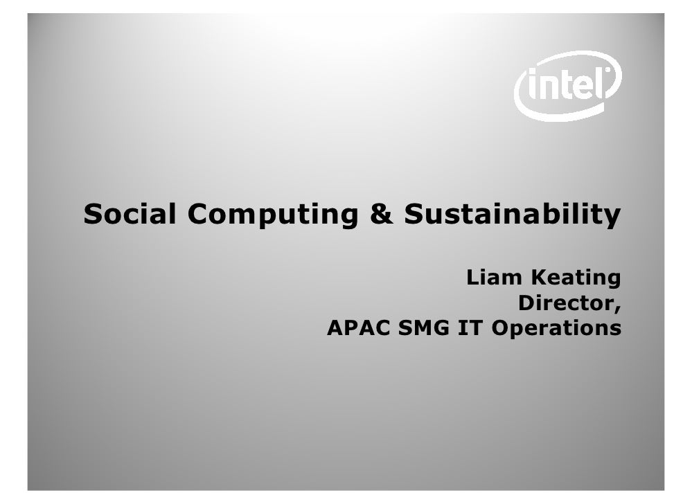 Intel Social Computing & Sustainability Issues