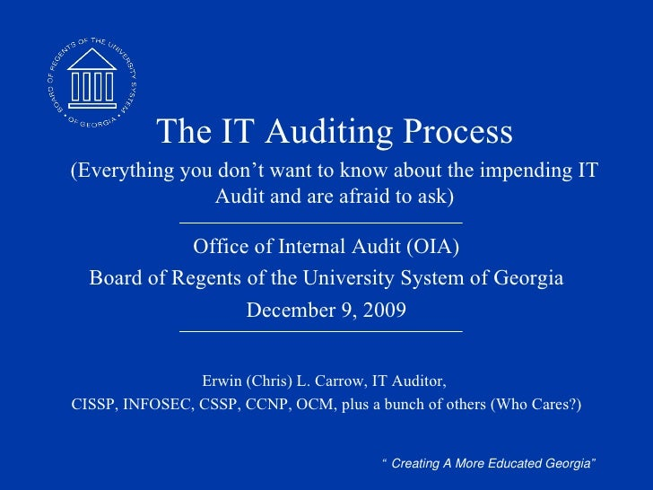 Office of Internal Audit (OIA) Board of Regents of the University System of Georgia June 8, 2009 Erwin (Chris) L. Carrow, ...