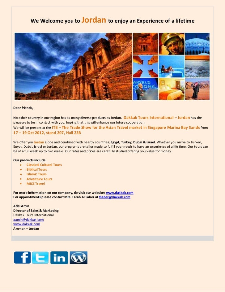 We Welcome you to Jordan to enjoy an Experience of a lifetimeDear friends,No other country in our region has as many diver...