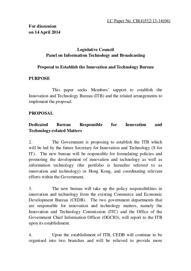 Administrative and funding proposal to Legco on the Innovation and Technology Bureau (April 2014)