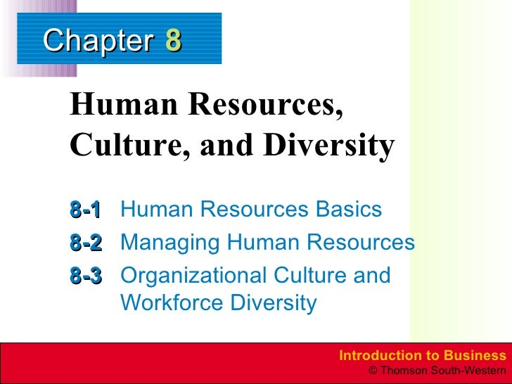 Human Resources, Culture, and Diversity 8-1 Human Resources Basics 8-2 Managing Human Resources 8-3 Organizational Culture...