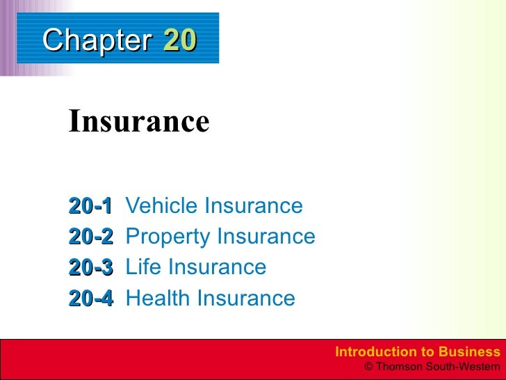 Insurance 20-1 Vehicle Insurance 20-2 Property Insurance 20-3 Life Insurance 20-4 Health Insurance 20
