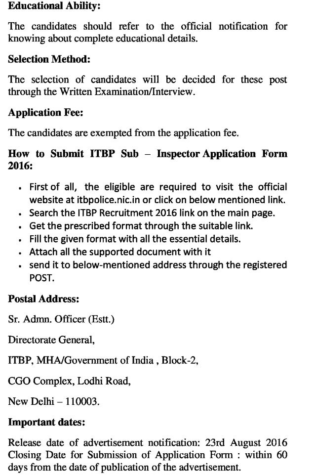 Itbp govt job recruitment 2016 latest sub inspector (general duty) posts exam result