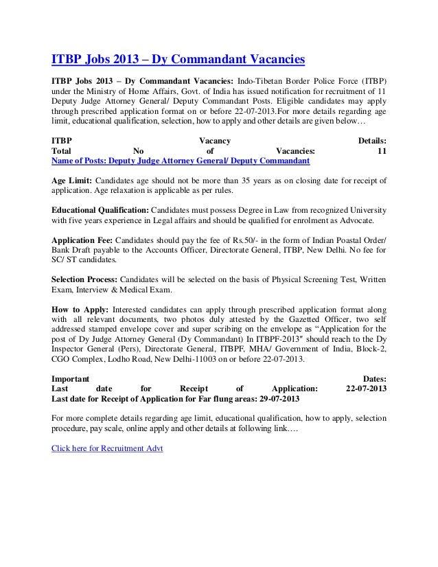 Itbp jobs 2013 – dy commandant vacancies