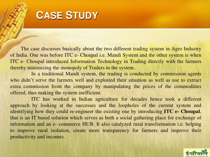 case study report itc A project report on itc 1 a this transformational strategy, whichhas already become the subject matter of a case study at harvard business school.