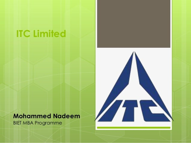 ITC Limited Mohammed Nadeem BIET MBA Programme