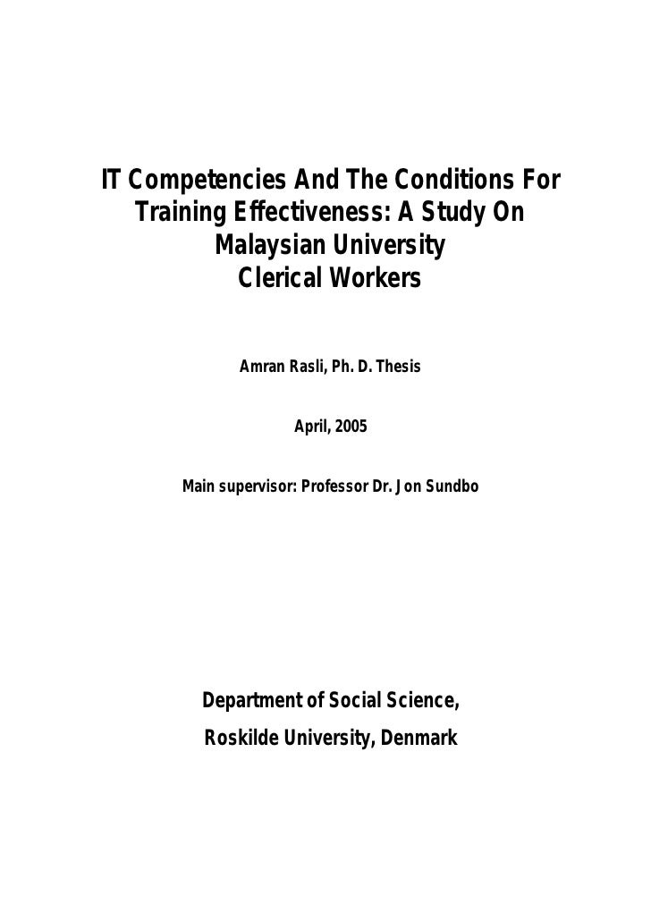 IT Competencies And The Conditions For   Training Effectiveness: A Study On          Malaysian University            Cleri...
