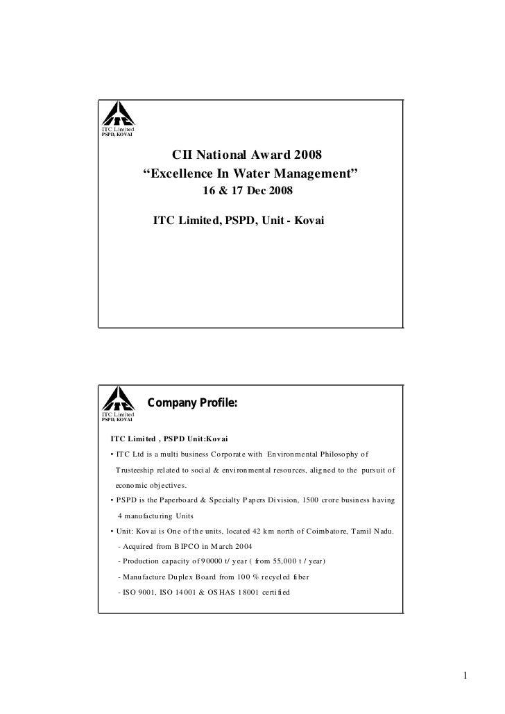 ITC Limited, PSPD, Unit - Kovai