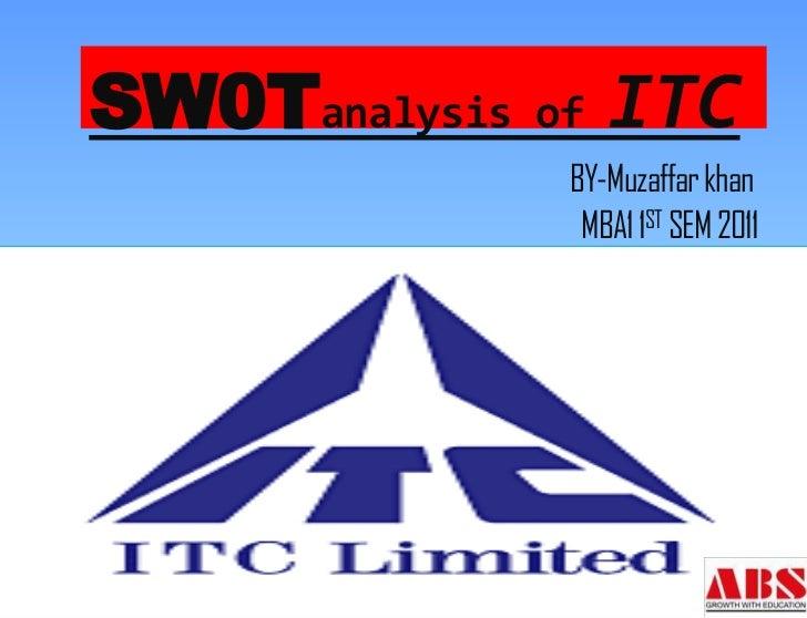 SW0Tanalysis of ITC             BY-Muzaffar khan              MBA1 1ST SEM 2011