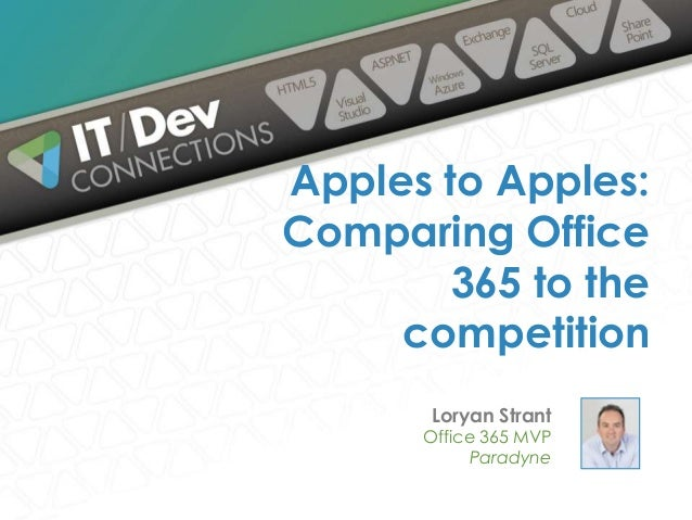 Loryan Strant Office 365 MVP Paradyne Apples to Apples: Comparing Office 365 to the competition