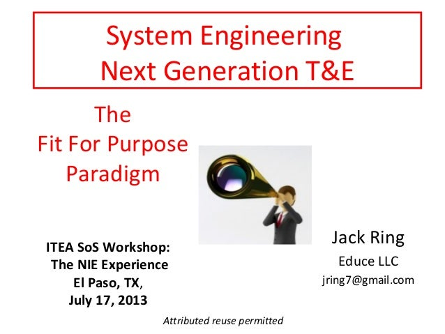System Engineering Next Generation T&E The Fit For Purpose Paradigm ITEA SoS Workshop: The NIE Experience El Paso, TX, Jul...