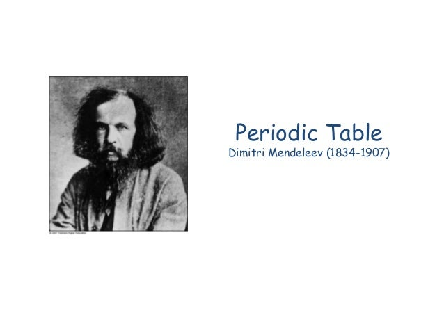 Periodic Table Dimitri Mendeleev (1834-1907)