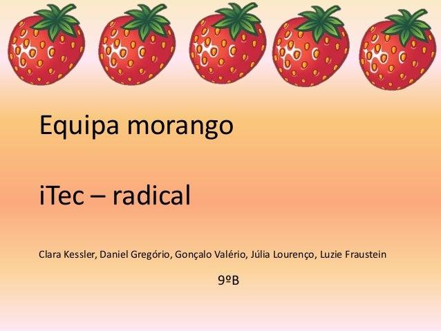 Equipa morango iTec – radical Clara Kessler, Daniel Gregório, Gonçalo Valério, Júlia Lourenço, Luzie Fraustein 9ºB