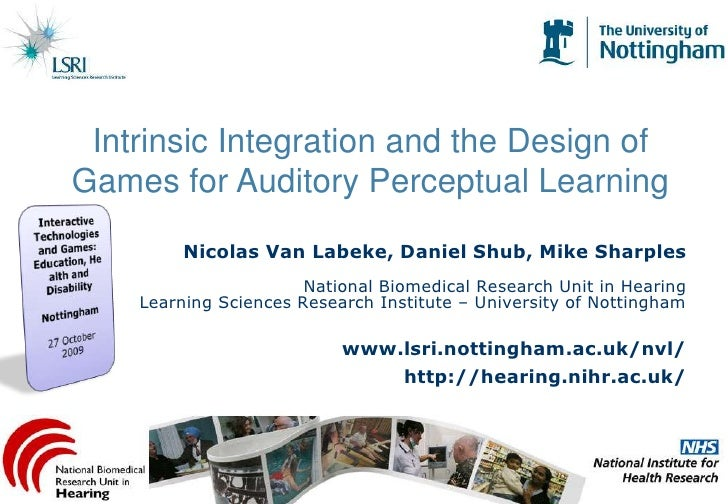 Intrinsic Integration and the Design of Games for Auditory Perceptual Learning