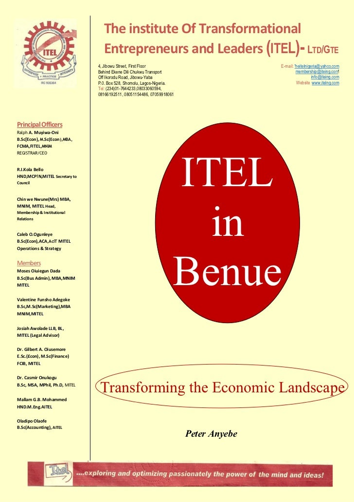 The institute Of Transformational                                  Entrepreneurs and Leaders (ITEL)- LTD/GTE              ...