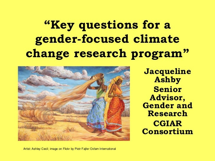 """Key questions for a  gender-focused climate change research program""                                                     ..."