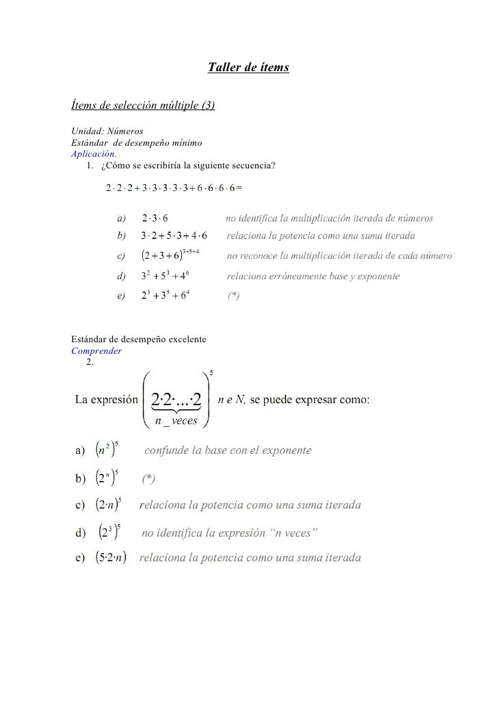 Taller de ítems  Ítems de selección múltiple (3)  Unidad: Números Estándar de desempeño mínimo Aplicación.    1. ¿Cómo se ...
