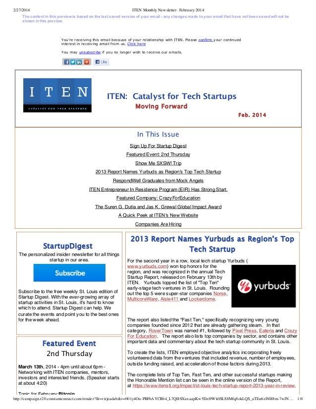 ITEN monthly newsletter  february 2014