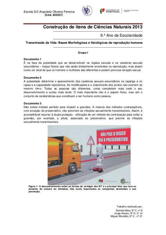Escola S/3 Arquiteto Oliveira Ferreira                 (Cód. 403337)               Construção de itens de Ciências Naturai...