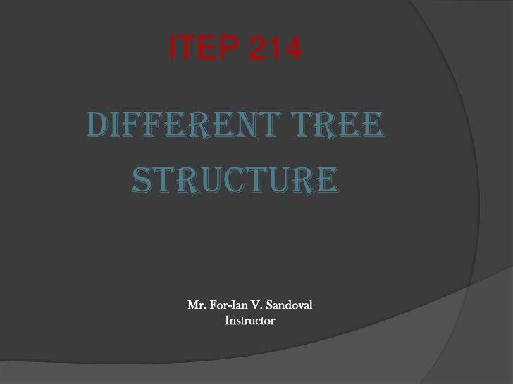 ITEP 214<br />Different Tree <br />Structure<br />Mr. For-Ian V. Sandoval<br />Instructor<br />