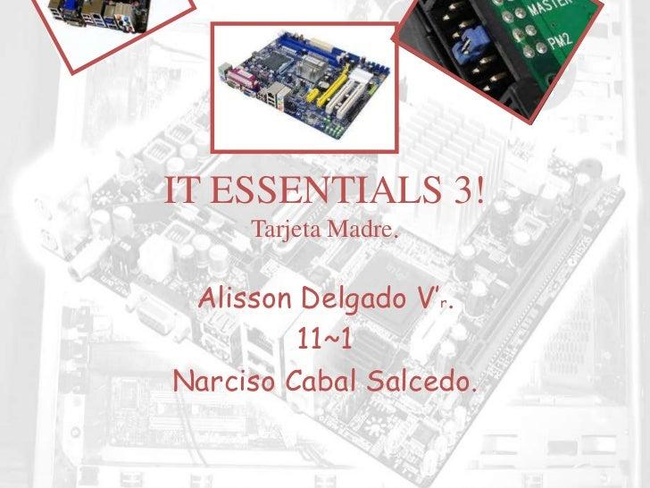 IT ESSENTIALS 3!     Tarjeta Madre. Alisson Delgado V'r.         11~1Narciso Cabal Salcedo.