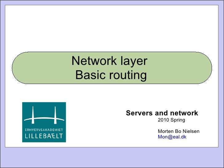 Network layer  Basic routing