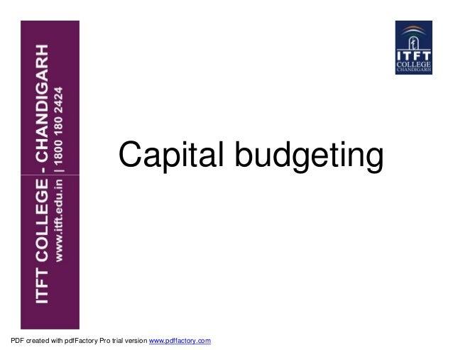 ITFT -Capital Budgeting