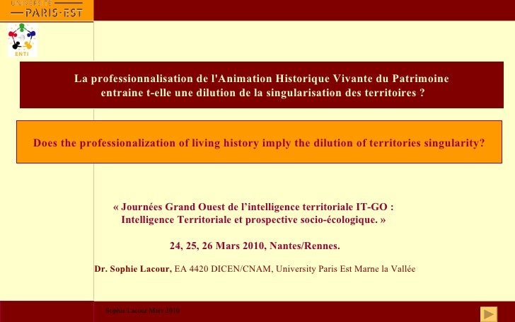 Introduction           Introduction                        La professionnalisation de l'Animation Historique Vivante du Pa...