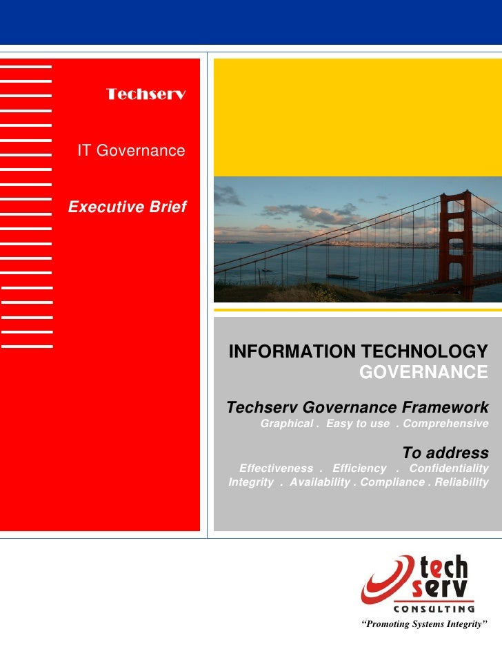 Techserv    IT Governance   Executive Brief                       INFORMATION TECHNOLOGY                               GOV...