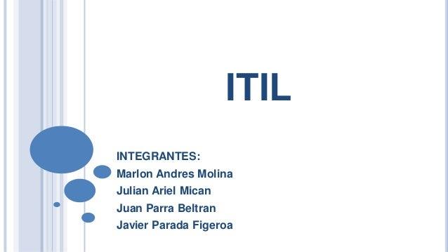 ITIL INTEGRANTES: Marlon Andres Molina  Julian Ariel Mican Juan Parra Beltran Javier Parada Figeroa