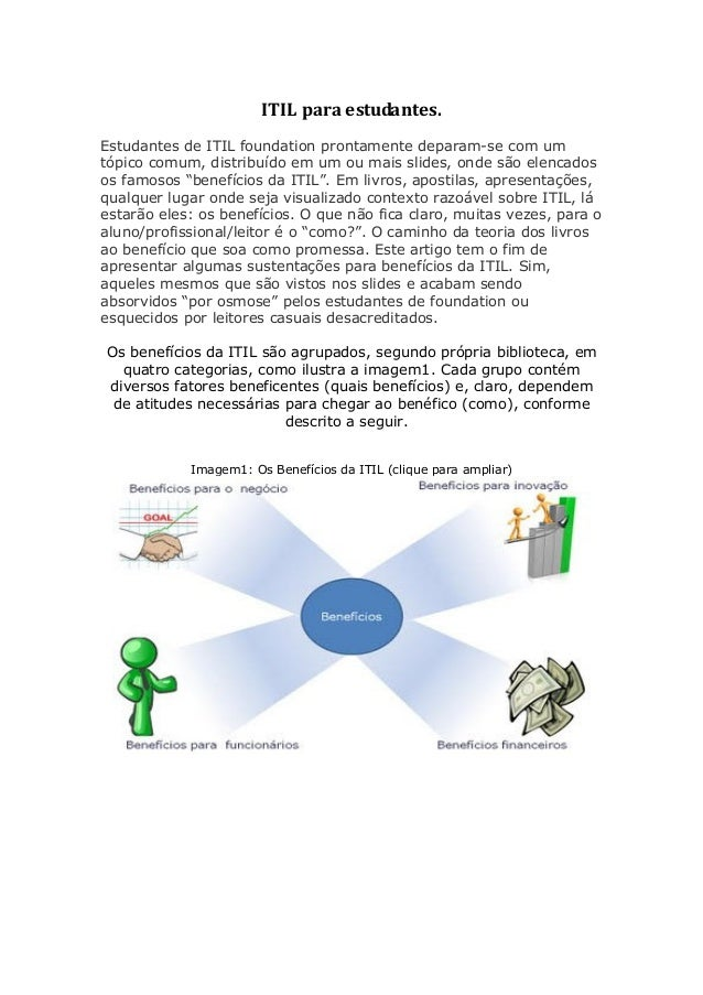 ITIL para estudantes. Estudantes de ITIL foundation prontamente deparam-se com um tópico comum, distribuído em um ou mais ...