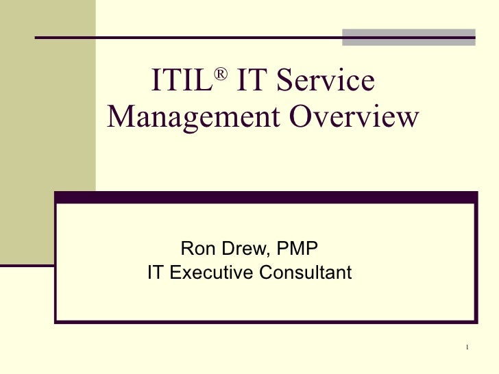 ITIL ®  IT Service Management Overview Ron Drew, PMP IT Executive Consultant