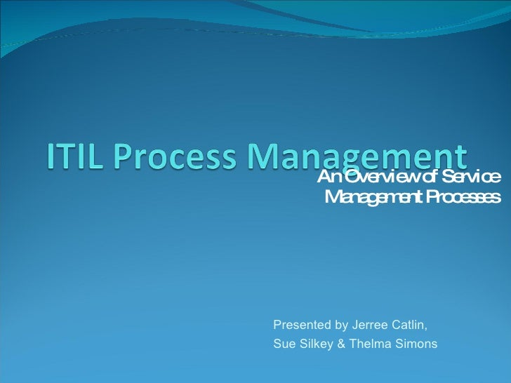 An Overview of Service Management Processes Presented by Jerree Catlin,  Sue Silkey & Thelma Simons
