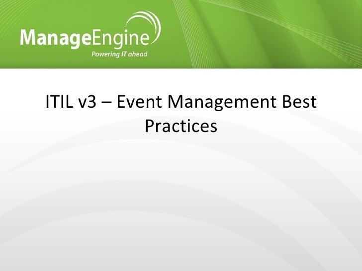 ITIL v3 - Event management best practices