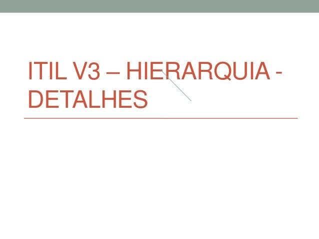 ITIL V3 – HIERARQUIA - DETALHES