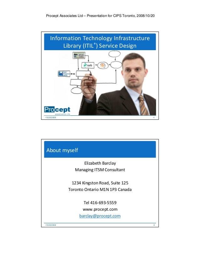 Procept Associates Ltd – Presentation for CIPS Toronto, 2008/10/20 Information Technology Infrastructure Library (ITIL®) S...
