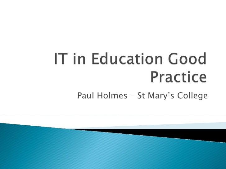 It in education good practice (2)