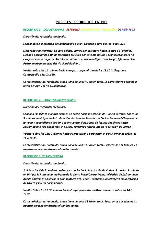 POSIBLES RECORRIDOS EN BICI RECORRIDO 1: DOS HERMANAS - REPÚBLICA DEMOCRÁTICA Y SOCIALISTA DE PEÑAFLOR Duración del recorr...