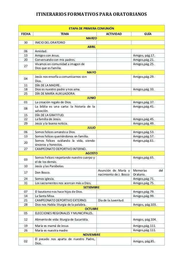 Itinerarios Formativos para Oratorianos