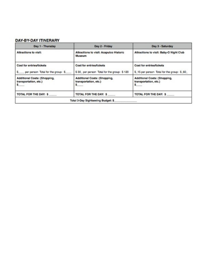 Itinerary for plan a trip in spanish
