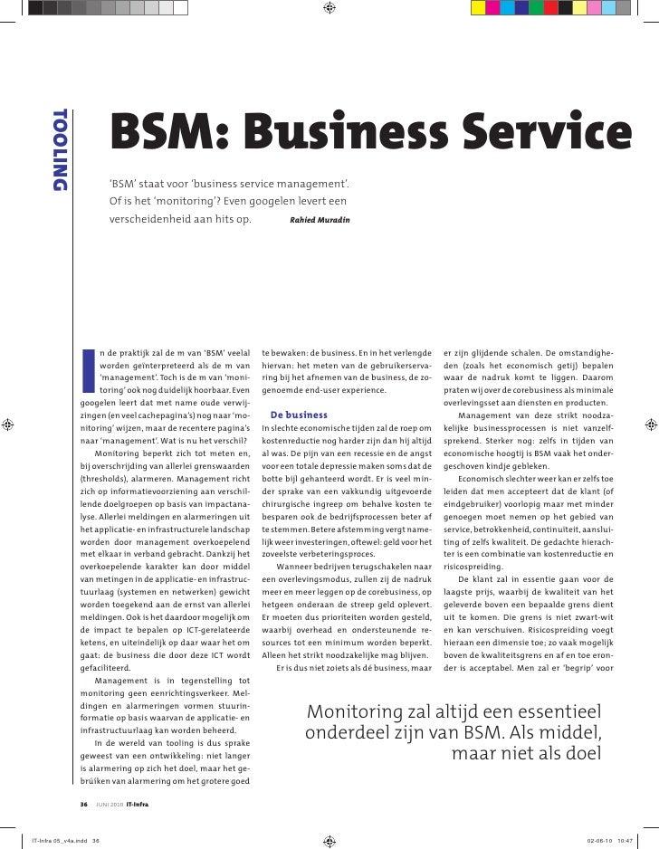 TOOLING                              BSM: Business Service                           'BSM' staat voor 'business service ma...