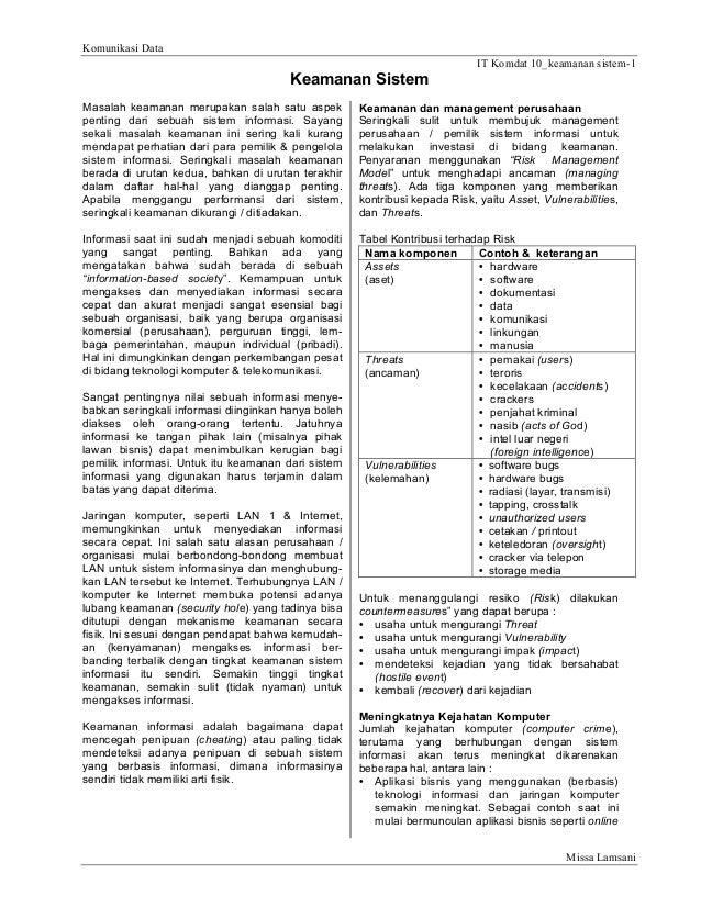Komunikasi Data IT Komdat 10_keamanan sistem-1  Keamanan Sistem Masalah keamanan merupakan salah satu aspek penting dari s...