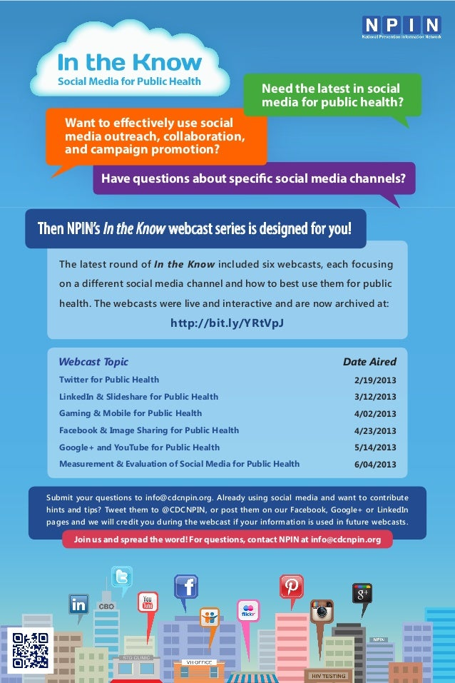 NPIN's In the Know: Social Media for Public Health Webcast Series Poster