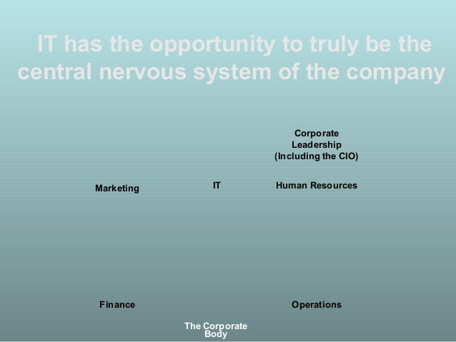 IT has the opportunity to truly be the central nervous system of the company Finance Operations Human ResourcesMarketing C...